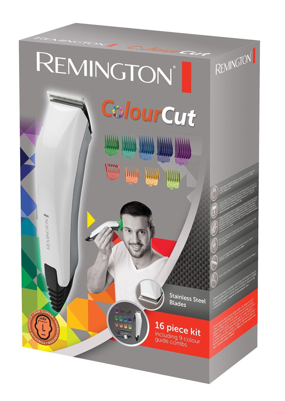Remington HC5035 ColourCut – Máquina de Cortar pelo con cable, 16 Accesorios, Acero Inoxidable, Blanco y Gris