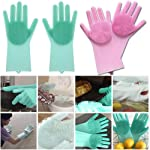 SHOPPOWORLD Silicone Non-Slip, Dishwashing and Pet Grooming, Magic Latex Scrubbing Gloves for Household Cleaning Great...