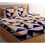 Just Muralidhar & Sons Polly Cotton Double Bedsheet with 2 Pillow Covers for Bed Room, Home, Hotel, (Multi color 5)