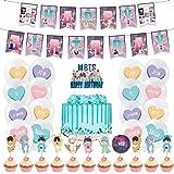Jimiston BTS Birthday Party Supplies contiene 1 pancarta de BTS, 24 toppers para cupcakes, 1 decoración para tarta de feliz c