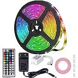 MOZC Ledstrip 5M, IP65 Waterdicht Veelkleurig RGB LED Strip, Gecontroleerd door IR-afstandsbediening, voor Slaapkamer, TV, Ko