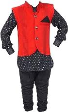 ahhaaaa Boy's Cotton Kurta and Balloon Pant with Waistcoat (DGRN171)