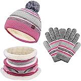 Juego de guantes de invierno para niños y niñas, gorro de punto para el cuello, 3 unidades, con pompones a rayas para niños y
