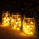 3 Pack Solar Mason Jar Lights,30 LED Water-Proof Outdoor Solar Lanterns,Garden Lights,Hanging Lights for Outside,Wedding, Par