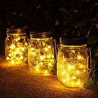 3 Stück Solarlampen fur Garten -30 LED Wetterfest Solar Einmachglas Aussen Lampions, Lichterkette im Glas,Gartendeko…
