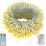 Hezbjiti Luces de cuerda de batería Hezbjiti, 100 luces de cadena de hadas activadas por sonido de LED con remoto, luces a ba