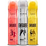 Engage Combo Pack Deo Spray for Women (Blush, Drizzle and Tease), Skin Friendly, (Pack of 3; 150ml Each), 450ml