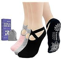 SHENMATE Calze da Yoga Antiscivolo, 3 Paia Calzini Pilates Donna, Cottone Traspirante Calze Sportive con Fascia Elastica…