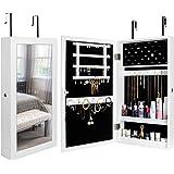 Yorbay smyckesskåp, smyckeskåp med spegel, väggmontering/dörrmontering, smyckedisplay och organisation, låsbar, för ringar, ö