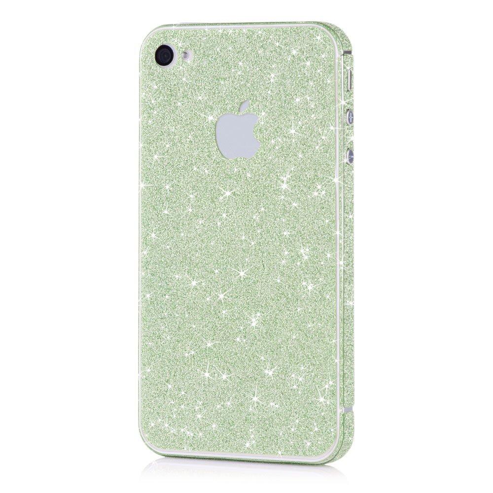 Pellicola MC24® glamour skin effetto glitter per Apple iPhone 4 4s in verde - pellicola adesiva diam