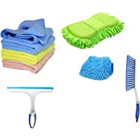 Winberg ® Car Cleaning Combo Pack Microfiber Cloth Towel Pack of 3 Carpet Brush Washing Scurb Glass Wiper Microfibre…