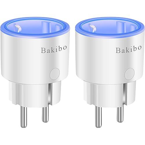 bakibo Presa Intelligente Wifi Compatibile con Alexa Echo, Google Home, Mini Smart Plug con Luce Notturna, App Controllo Remoto, Temporizzazione, Programma, Monitor Energetico - 2 Pcs
