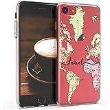 kwmobile Carcasa Compatible con Apple iPhone 7/8 / SE (2020) - Funda Silicona TPU Mapa Mundial Negro/Multicolor/Transparente