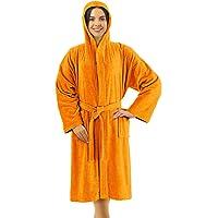 Banzaii Accappatoio in Spugna 100% Cotone con Cappuccio – Accappatoio Uomo e Donna - Taglia S Arancione