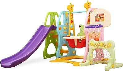 Clamaro 'Crazy Zoo 4in1' Garten Spielplatz Schaukel mit Rutsche, Basketballkorb und Fußballtor Kombination, Schaukelsitz mit Gestell, Rückenlehne, Anschnallgurt und Rausfallschutz Bügel mit Tablett (entfernbar)
