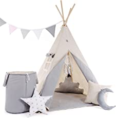Kinder Teepee Tipi Set für Kinder Spielzeug drinnen draußen Spielzelt Zelt 8 Elemente dabei Tipi-Set Indianer Indianertipi mit Fenster usw. Tipi mit und ohne Zubehör erhältlich