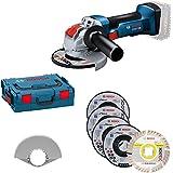 Bosch Professional 18V System Winkelschleifer GWX 18V-8 (für X-Lock-Zubehör, Scheibendurchmesser: 125 mm, inkl. 5tlg. Trenn-u