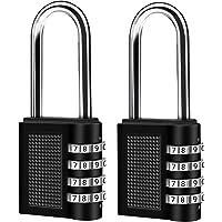 Zahlenschloss mit Bügel Lang, 2er Pack 4-Stelliges Kombinationsschloss, Zahlen Vorhangschloss, Nummerschloss…