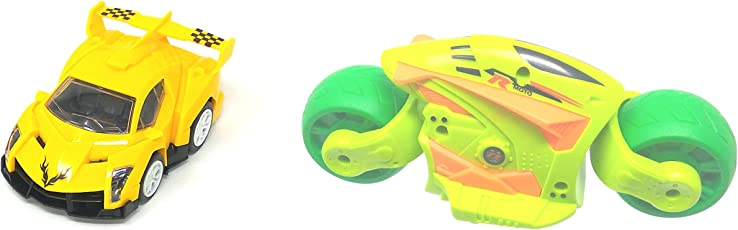 Akrobo Friction Toys Set of Car and Sports Bike (Multicolour)