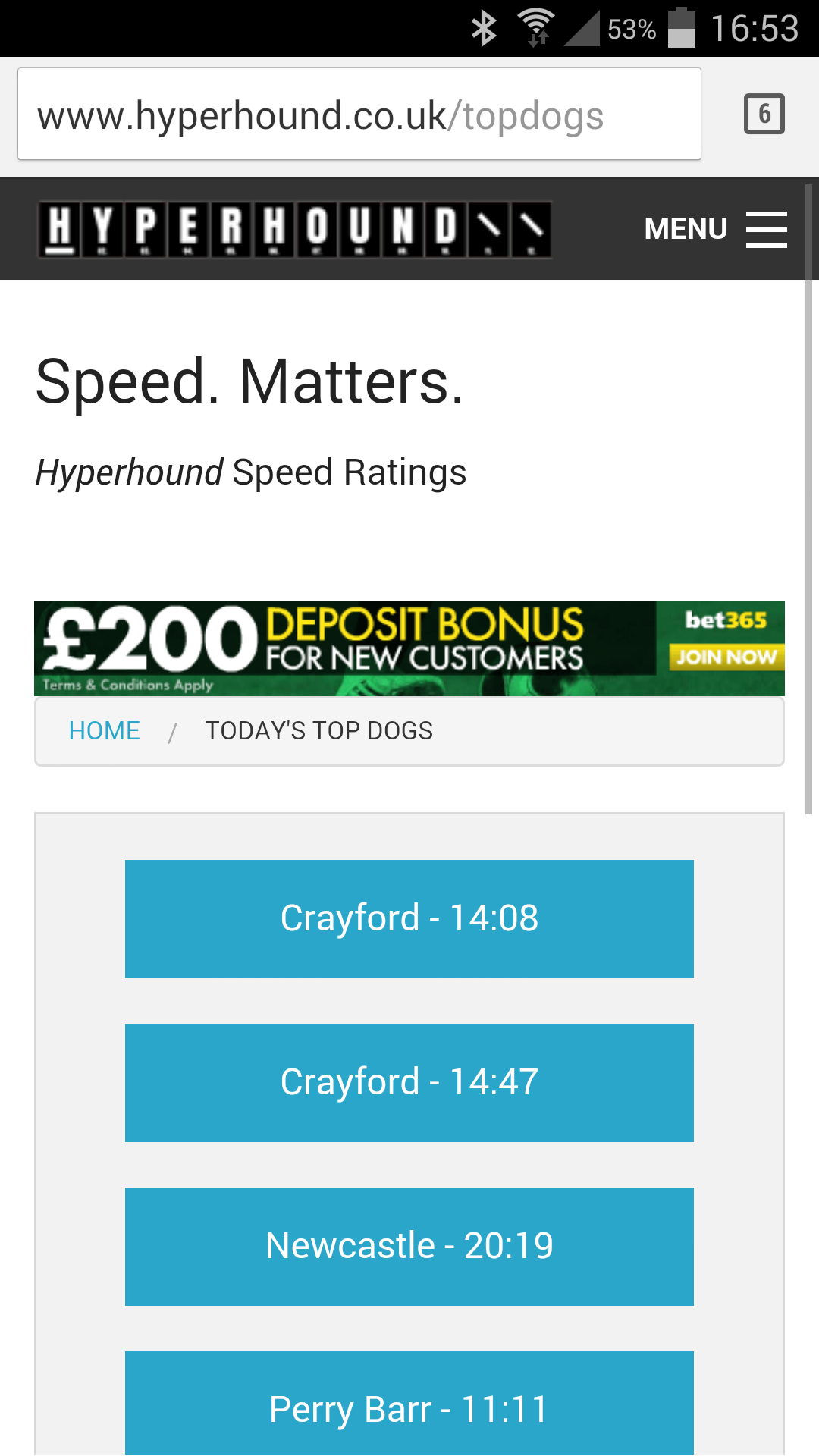 Hyperhound - Free Greyhound Speed Ratings