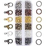 JZK 140 x Ganci Chiusure moschettone + 990 x anellini Aperti, Set Accessori Kit per bigiotteria Fai da Te creazione Gioielli