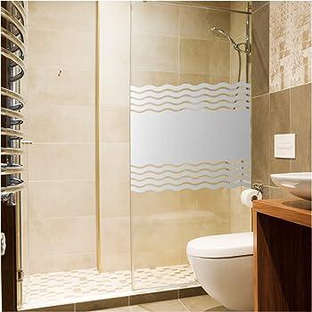 film autocollant brise vue pour cabine de douche vagues d poli occultant pour fen tre de salle. Black Bedroom Furniture Sets. Home Design Ideas