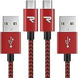 Rampow Micro USB Kabel, schnelles Aufladen und Synchronisieren, mit Nylon geflochtenes USB Ladekabel kompatibel für Android Smartphones, Samsung, Huawei, Kindle usw. - 1M/ 2 Stücke - Rot