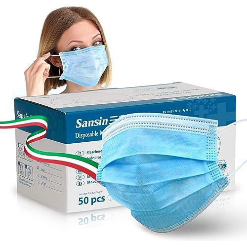 SANSIN Mascherine chirurgiche certificate, Non Sterili di Tipo 1 a 3 Strati, Nasello Regolabile, Magazzino italiano (Confezione di 50 Pezzi)