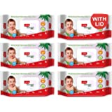 LuvLap Paraben Free Baby Wipes with Aloe Vera, with Fliptop Lid (72 Wipes/Pack, Pack of 6)
