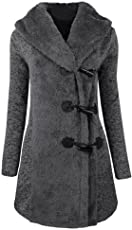 Mose Women's Long Sleeve Winter Warm Slim Thicker Buttons Parka Hoodie Coat Overcoat