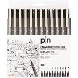 UNI PIN FINELINER DRAWING PEN SET 12 BLACK