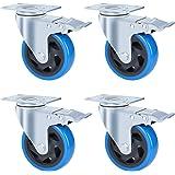 FIXKIT 4 transportrollen 100MM zwenkwielen met 4 remmen van polyurethaan, draagvermogen 450kg