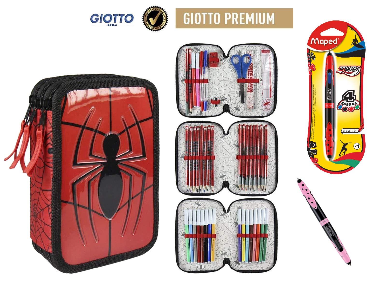 Plumier Estuche Premium de Cremallera Triple 3 Pisos Spiderman Marvel – 43 Piezas Contenido Giotto + Regalo 12 Ceras Alpino Plastialpino