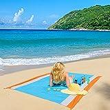 ZealousDream Alfombras de Playa, Toalla Playa Gigante 200 x 200, Manta Picnic Anti-Arena Impermeable con 4 Estaca Fijo para l
