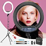 Neewer RL-18II Bi-color 18-inch LED Ring Light with Stand 55W 3200-5600K Dimmable Light with Max. 61.8inch Stand, Remote Phon