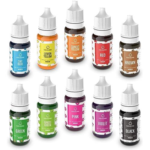 Colorante Alimentare liquido 10 Colori Coloranti alimentari Concentrati per Cuocere Decorare Glassare e Cucinare