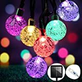 OMERIL Guirnaldas Luces Exterior Solar, 8M Cadena de Luces Multicolor con 50 LED Bola, USB Recargable Luces Navidad Solar par