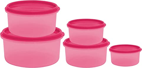 Princeware SF Round Plastic Container Set, 5-Pieces, Pink