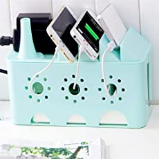 BLAPOXE Wire Box - Cable Management Box Desk Table Power Plug Socket Wire Hiding Organizer Anti-Dust Tidy Storage Organizer Phone Sundries Holder Case Box for Home Office
