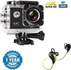Captcha 4K WIFI Sports Action Camera Ultra HD Waterproof DV Camcorder 12MP 170 Degree Wide Angle With Bluetooth Stereo Headset