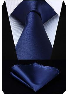 HISDERN Set da uomo classico con cravatta blu e fazzoletto da taschino