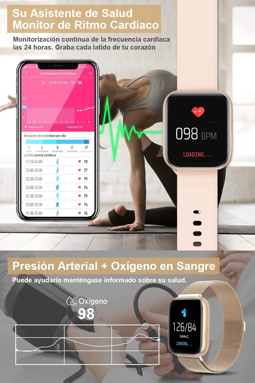 BANLVS Smartwatch, 1.4 Inch Reloj Inteligente IP67 con Pulsómetro Presión Arterial, Monitor de Sueño Podómetro Contador de Caloría, Smartwatch Mujer Reloj Inteligente para Hombre Mujer Niños 4