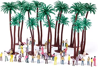 Generic 10pcs Height 15cm Coconut Tree, 100pcs Painted Model People Figures Set Scale 1:75