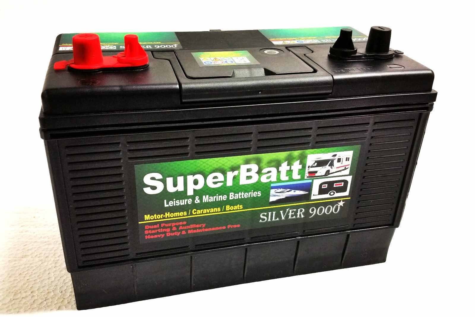 12V 120AH SuperBatt DT120 Heavy Duty Ultra Deep Cycle Dual Purpose Leisure Marine Battery with Dual Terminals (Twin Posts) & Charge Indicator Replace 105AH ; 110AH ; 115AH ; 120AH 1