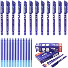 Laconile, penne cancellabili di alta qualità con punta a pennino da 0,5 mm, 12 pezzi, penne con inchiostro nero, blu, rosso, blu scuro, e confezione da 20 ricariche per penne in gel, scrittura scorrevole, cancelleria per la scuola Blue