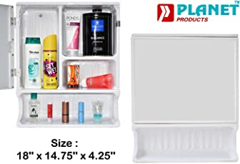 Planet Forever High Grade Multipurpose Bathroom Cabinet with Mirror - White