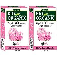 INDUS VALLEY 100% Organic Rose Petal Powder (Natural And Pure Rose Powder) - 100g+100g=200g (Set of 2)