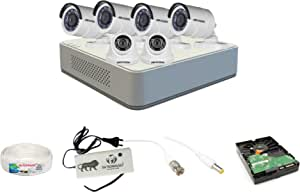 Hikvision 8 Ch HD DVR and 2 Dome -4 Bullet Camera HD Combo Kit; Include All Require Accessories for 6 Camera Installation