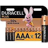 Duracell LR03 MN2400 Plus AAA - Batterie Ministilo Alcaline, Confezione da 12 Pacco del Produttore, 1.5V, 12 Batterie