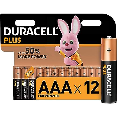 Duracell LR03 MN2400 Plus AAA - Batterie Ministilo Alcaline, Confezione da 12 Pacco del Produttore, 1.5V